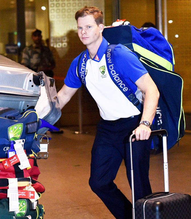 Australia captain Steve Smith arrives at the international airport in Mumbai on Monday