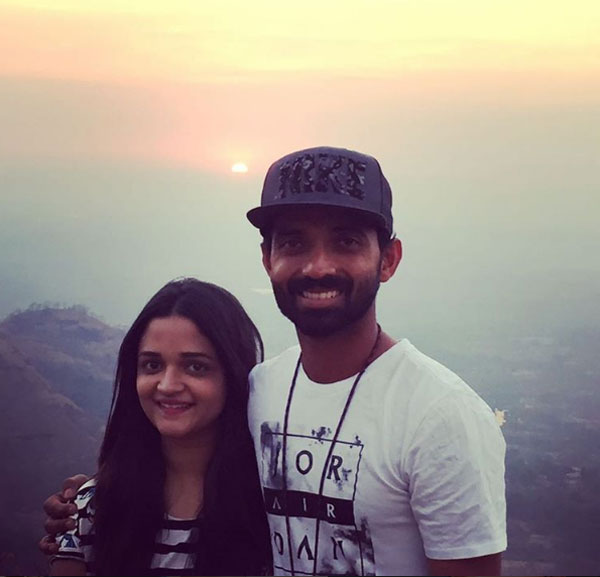 Ajinkya Rahane and wife Radhika are all smiles