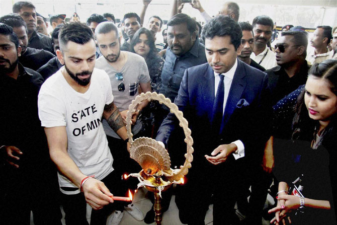 Virat Kohli at the inauguration of a mall in Pune on Wednesday