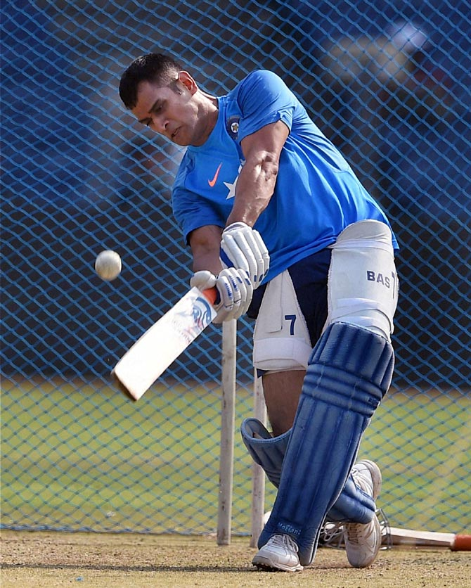 Mahendra Singh Dhoni in action during the nets session on Saturday