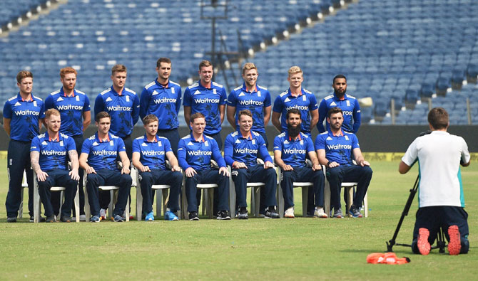 England players pose for a group photo during a practice session in Pune on Saturday