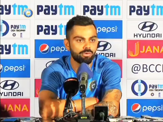 Virat Kohli at the pre-match press conference in Pune on Saturday