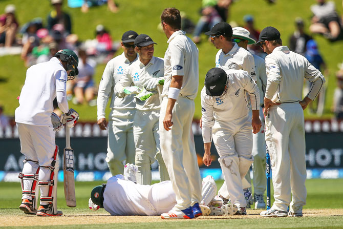 Players check on Mushfiqur Rahim after he was struck by a Tim Southee delivery