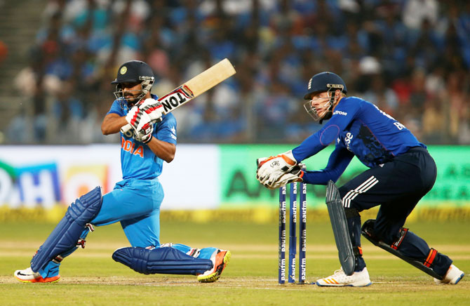 India's Kedar Jadhav plays a shot en route his match-winning century in the first ODI against England on Sunday