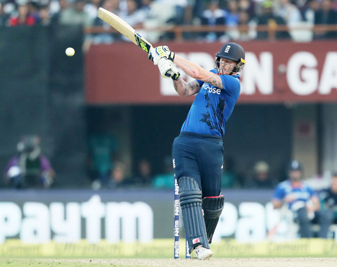 Ben Stokes swings his bat during his quick-fire innings of 39