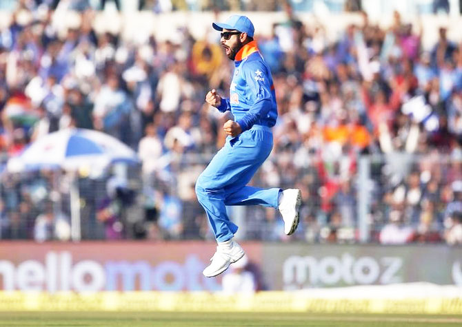 India's captain Virat Kohli celebrates the dismissal of England's Jonny Bairstow during the 3rd ODI at Eden Gardens in Kolkata on Sunday