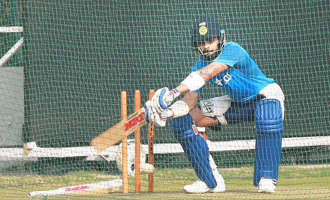 Indian captain Virat Kohli during a practice session at Green Park stadium in Kanpur on Wednesday