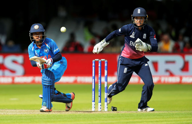 India's opener Punam Raut in action during her 86-run innings