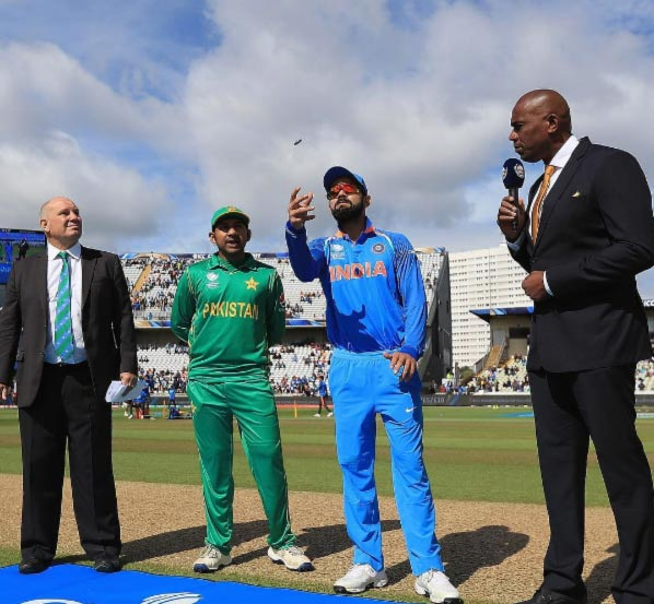 India and Pakistan Captains Virat Kohli and Sarfaraz Ahmed at the toss before the opening game in the Champions Trophy, June 5, 2017. Photograph: ICC/Twitter