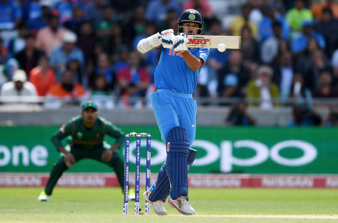 Shikhar Dhawan in action in the Champions Trophy semi-final against Bangladesh, June 15, 2017. Photograph: Gareth Copley/Getty Images
