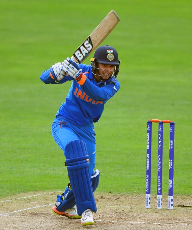 Smriti Mandhana hits a boundary during her unbeaten knock of 106 against the West Indies at Taunton, June 29, 2017