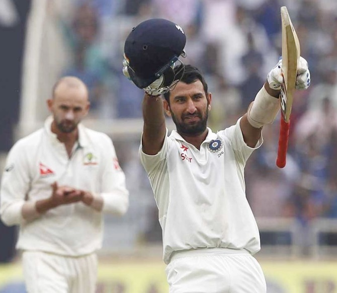 Pujara hits double ton as India sniff victory in Ranchi