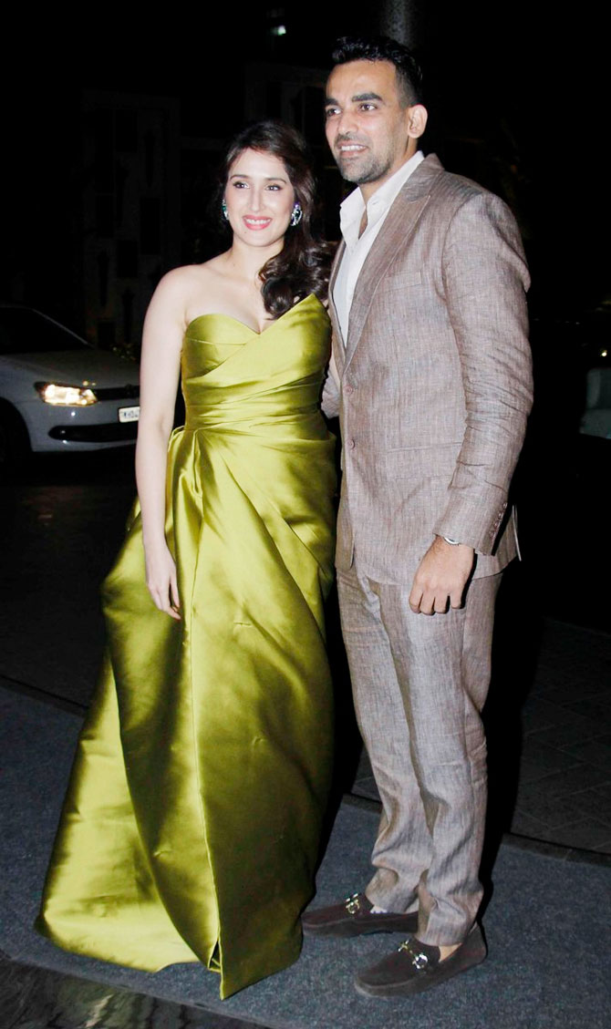 The couple of the evening, Zaheer Khan and fiancee Sagarika Ghatge pose for lensmen