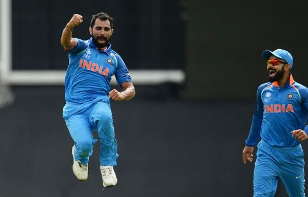 Mohammed Shami is ecstatic after claiming a wicket during India's first Champions Trophy warm-up game against New Zealand at the Oval in London, May 27, 2017. Photograph: BCCI/Twitter