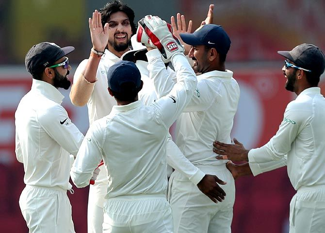The Indians celebrate a Sri Lankan wicket in the Nagpur Test, November 24, 2017. Photograph: BCCI