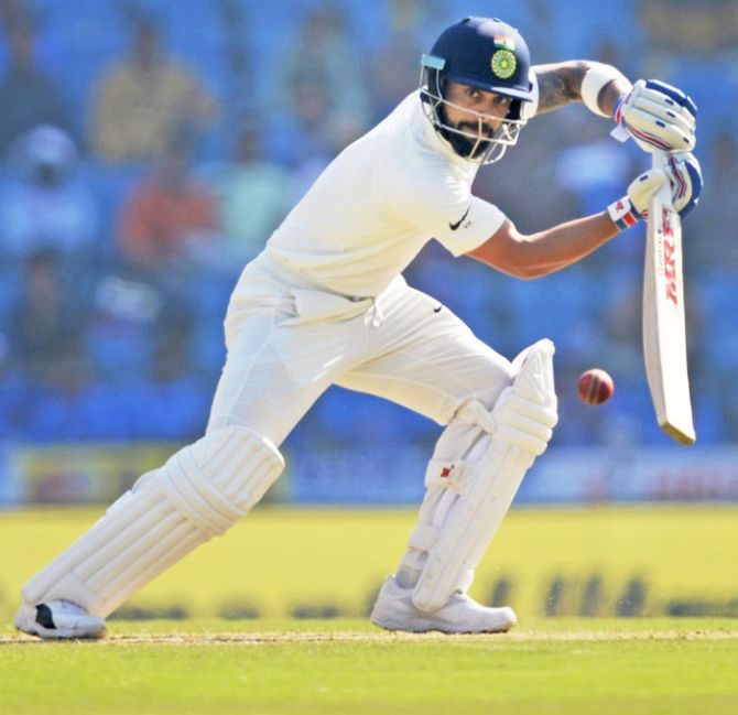 India captain Virat Kohli plays a shot during his innings of 213 on the third day of the 2nd Test match against Sri Lanka in Nagpur on Sunday