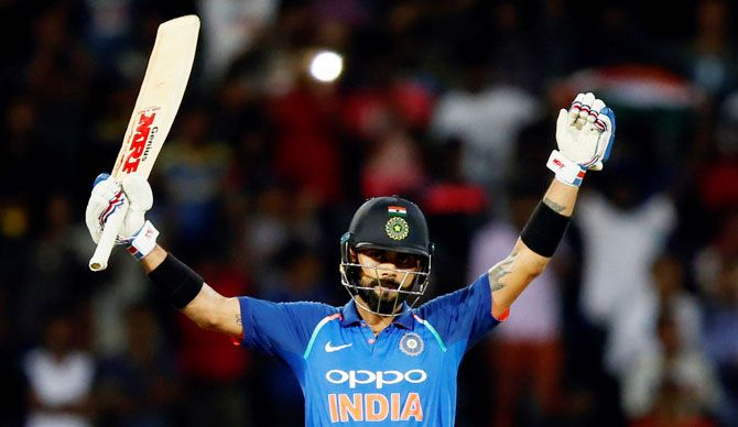 Virat Kohli celebrates his 30th ODI in the 5th ODI against Sri Lanka in Colombo, September 3, 2017. Photograph: Dinuka Liyanawatte/Reuters