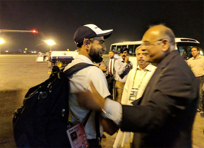 World XI's Imran Tahir is greeted by Najam Sethi on arrival in Lahore