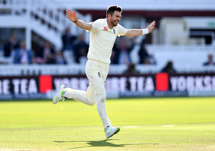 James Anderson celebrates dismissing West Indian Kraigg Braithwaite, his 500th Test wicket at Lord's, September 8. Photograph: Dan Mullan/Getty Images
