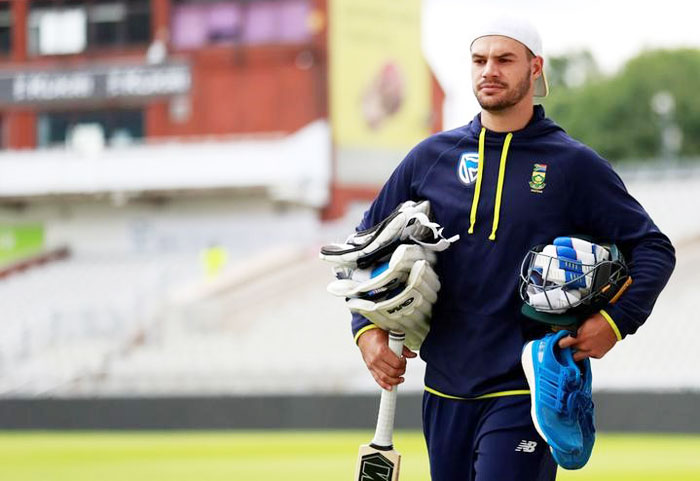South Africa's Aiden Markram at a nets session