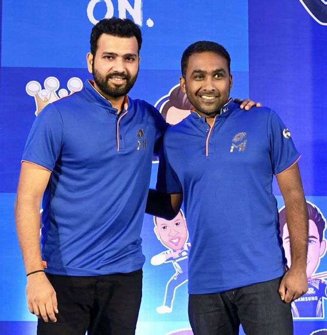 Mumbai Indians captain Rohit Sharma and team coach Mahela Jaywardhane during a pre-season press conference in Mumbai on Thursday