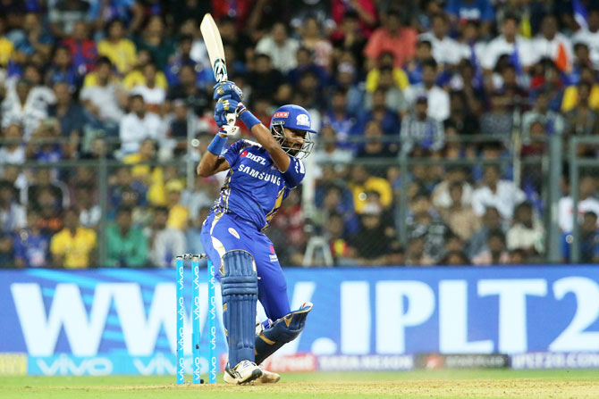 MI's Krunal Pandya plays a shot