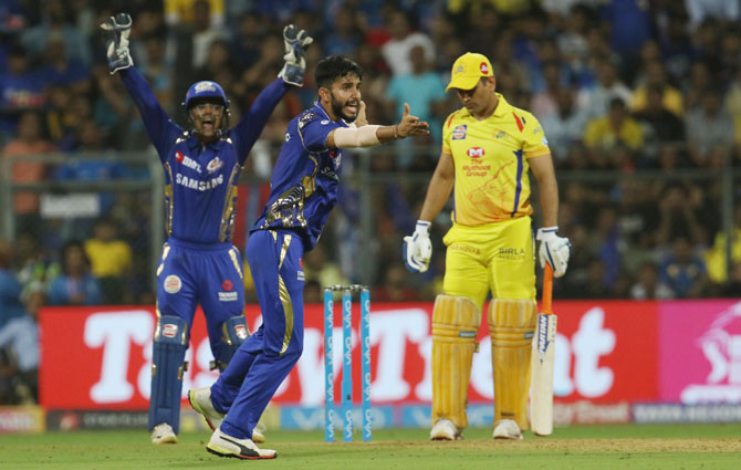 MI's Mayank Markande appeals for the wicket of CSK's MS Dhoni