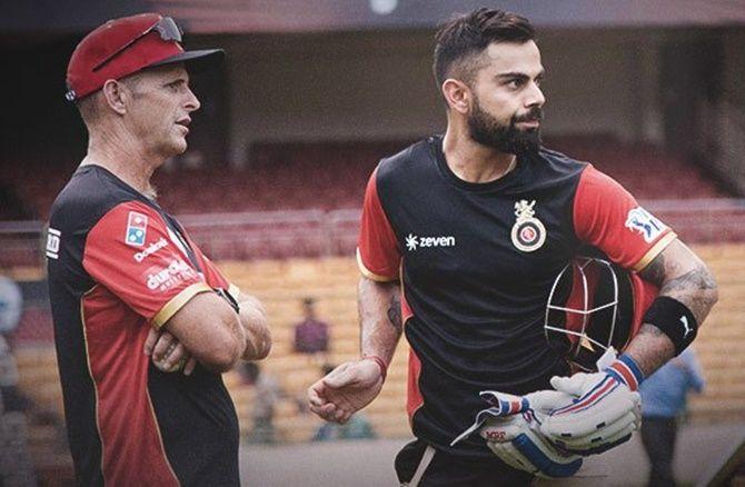 RCB's Virat Kohli with coach Gary Kirsten