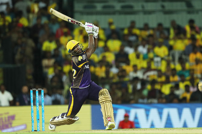 KKR's Andre Russell hits one of his 11 sixes during his 88-run innings