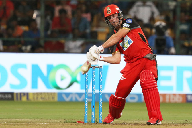 AB de Villiers goes after the bowling