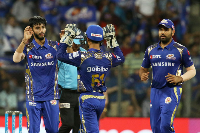 Mumbai Indians' Mayank Markande celebrates the wicket of Sunrisers Hyderabad's Mohammad Nabi