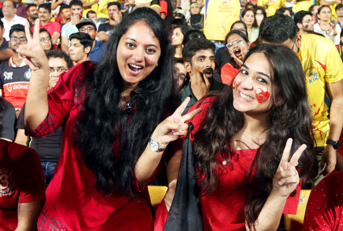 Fans enjoy during match twenty four of the Vivo Indian Premier League 2018 (IPL 2018) between the Royal Challengers Bangalore and the Chennai Super Kings on April 24