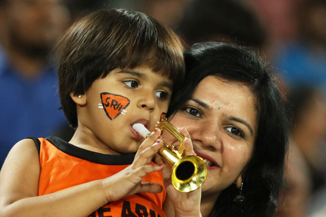 A young Sunrisers Hyderabad fan