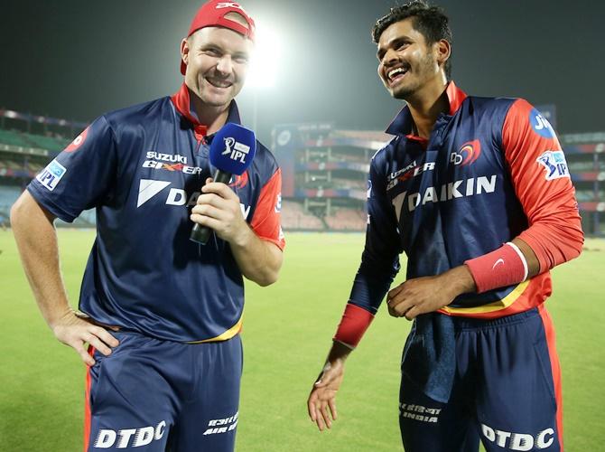 Colin Munro and Shreyas Iyer of the Delhi Daredevils
