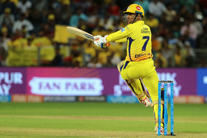 Mahendra Singh Dhoni played some innovative shots as he propped CSK past the 200-run mark