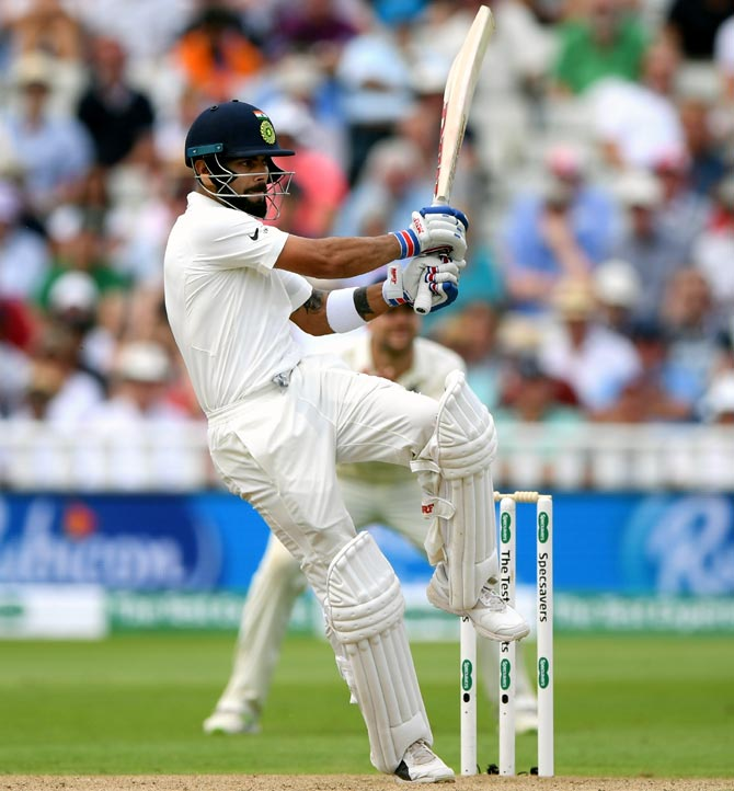 Virat Kohli on his way to a gritty 149 in the first Test against England at Edgbaston, August 3, 2018. Photograph: Stu Forster/Getty Images
