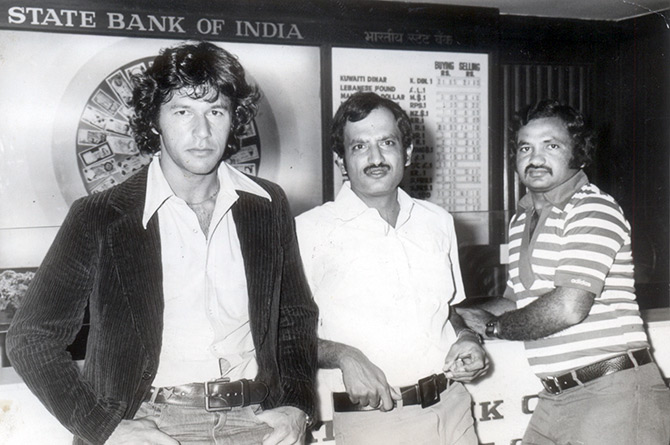 Imran Khan, left, with Ajit Wadekar, centre and Mushtaq Mohammad
