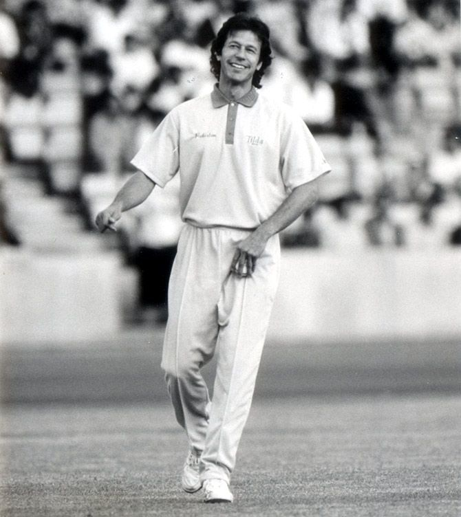 Imran Khan at an exhibition game at the Crystal Palace stadium, July 28, 1992