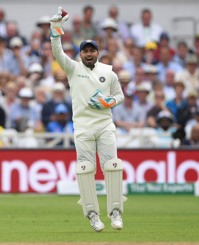 Rishabh Pant became the only fourth Indian wicket-keeper to take five catches on Test debut during the second day of the third cricket Test against England, in Nottingham on August 19