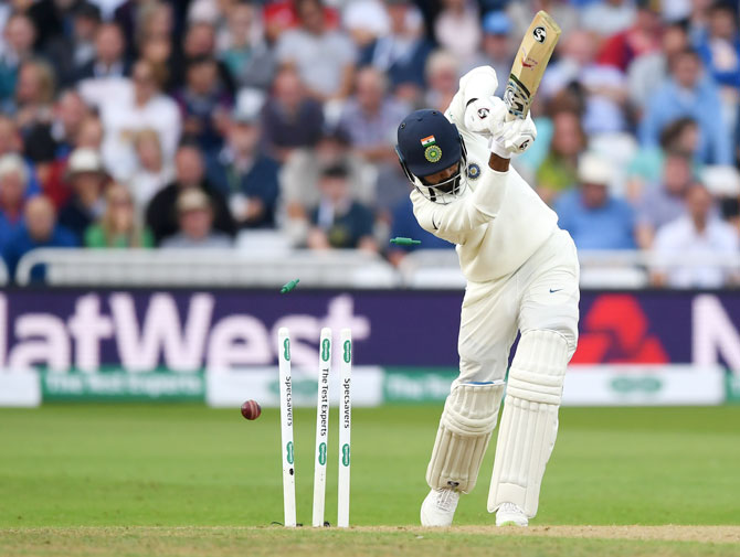 India's KL Rahul is bowled by England's Ben Stokes