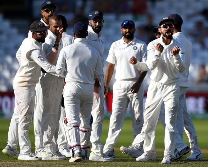 Virat Kohli exults as India grab another wicket during the third Test in Nottingham. Photograph: Stu Forster/Getty Images