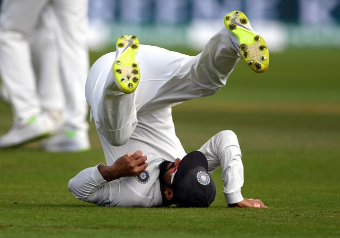 Ajinkya Rahane takes the catch to dismiss James Anderson and give India victory in the third Test at Trent Bridge. Photograph: Gareth Copley/Getty Images