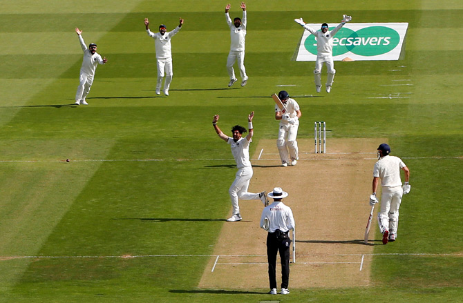 Ishant Sharma, who has been awesome throughout the series, has English Captain Joe Root's wicket in the fourth Test at Southampton. Photograph: Action Images via Paul Childs/Reuters