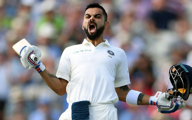 Virat Kohli celebrates his century against England during the first Test in Birmingham in August. Photograph: Stu Forster/Getty Images