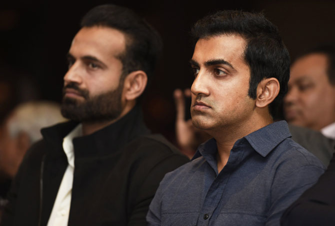 Gautam Gambhir with former India teammate Irfan Pathan at VVS Laxman's book launch in New Delhi on Tuesday