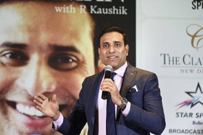 VVS Laxman recounts some anecdotes during the launch of his book '281 and Beyond' in New Delhi on Tuesday
