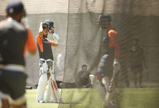 Virat Kohli at a nets session in Adelaide on Tuesday