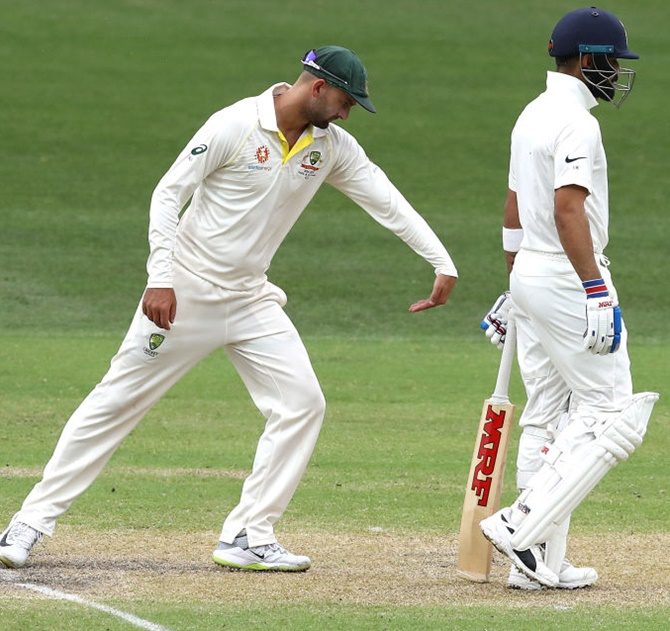 Rediff Cricket - Indian cricket - PIX: Lyon snares Kohli but India in control in Adelaide