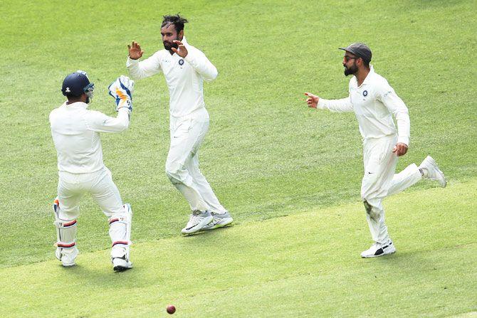 Hanuma Vihari celebrates dismissing Marcus Harris in the first innings
