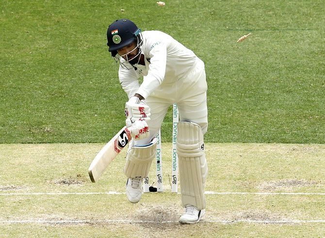 KL Rahul is bowled by Josh Hazlewood